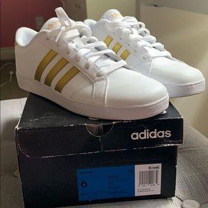 White & gold adidas